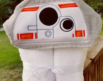 BB8  Star Wars Inspired Hooded Towel with FREE Embroidered Name