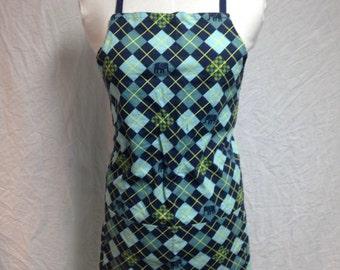 Blue argyle apron