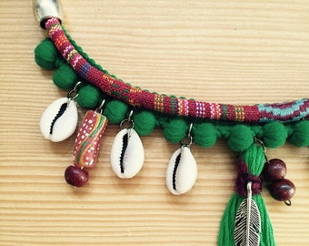 Ethnic necklace with African stones.