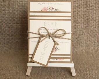 Floral de Boho boda invitación paquete rústico invitación boda Bohemia elegante con guita a mano invitación muestra boda invitan a la boda