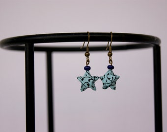 Earrings star origami, blue and black Japanese paper and blue pearl