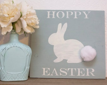 Hoppy Easter Sign~Wooden Easter Sign~Easter Decor~Holiday Decor~Bunny Decor~Board Sign