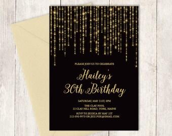 Elegant Birthday Invitation DIY / Great Gatsby Bokeh String Light / Black and Gold / Thirtieth Birthday ▷ Printable Birthday Invite