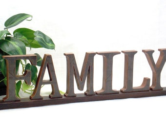 FAMILY Sign - Wooden Word Sign - Fireplace Mantel Decor - Word Sign - Word Art Wood Sign - Words -  Wood Letters - Wood Sign