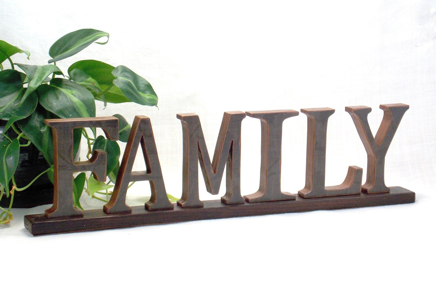 Family sign wooden word sign fireplace mantel decor word for Another word for decoration