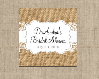 Wedding Favor Tag - Burlap and Lace Favor Tags - Rustic Favor Tags - Country Favor Tags - Rustic Wedding Decor -  12 Pieces - 2 x 2 inches