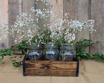 Wood Crate Centerpiece, Wedding Centerpiece, Wood Crate With Mason Jars, Rustic Wedding Decor, Table Decorations, Reclaimed Wood Centerpiece