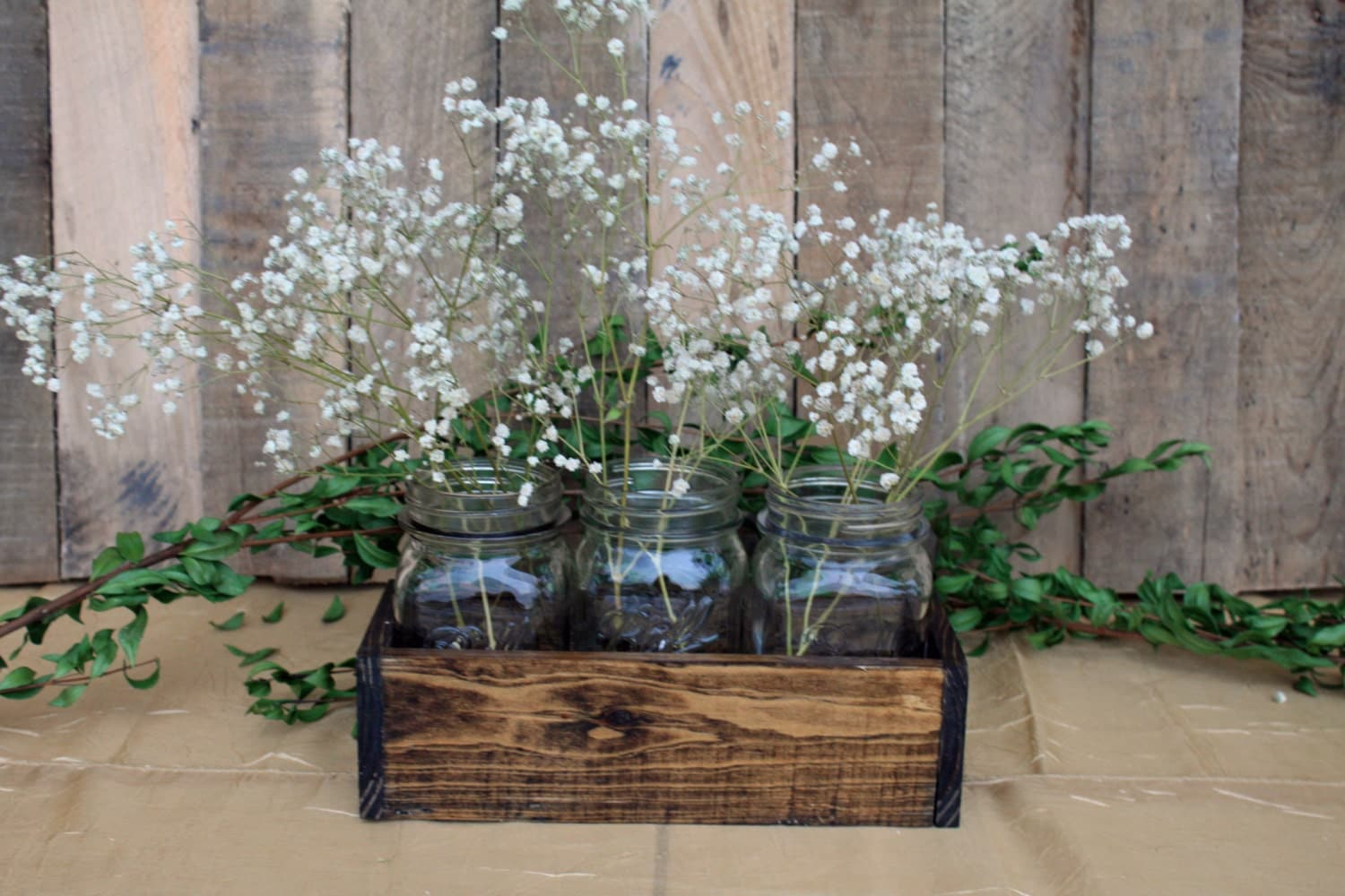 Wood crate centerpiece wedding by