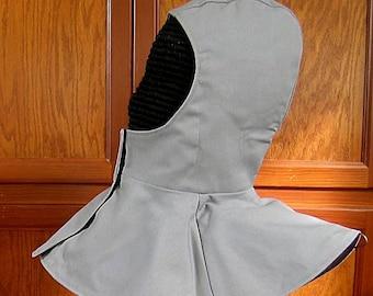 Gray Undermask Fencing Hood Gipsy Peddler SCA Rapier Armor Arming Cap