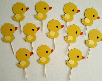 Duck Cupcake Toppers-set of 12, Baby Shower, Duck Baby Shower