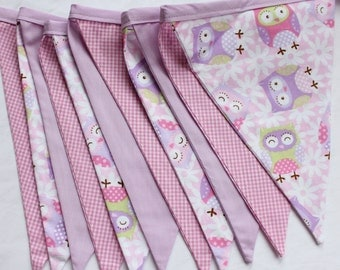 Bunting flags hanging decor party classroom home birthday handmade by Smitten Kitten. Purple and white stripe