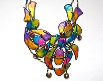 Abstract Colorful Unique Handmade Polymer Clay Statement Necklace~Swarovski Crystals