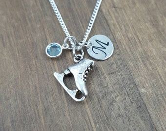 Personalized Skater Necklace - Hand stamped Monogram Ice Skate Necklace - Initial, Birthstone Necklace - Figure Skater Necklace