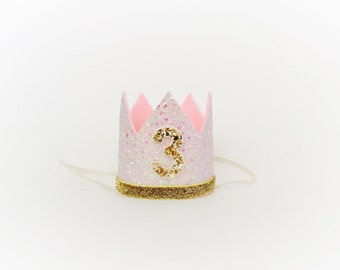 Third Birthday Crown of Glitter // 3rd Birthday Hat // Pink and Gold 3