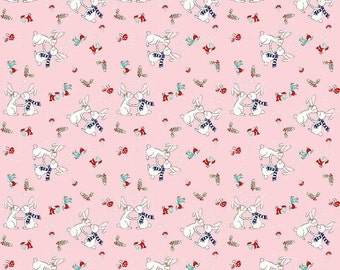Pixie Noel by Riley Blake - Bunnies Pink - Cotton Woven Fabric