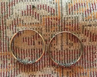 Vintage Hoops...Sterling Silver Earrings...Sterling Silver Hoops...Handmade Vintage Earrings...Ethnic...Hippy...Gypsy..