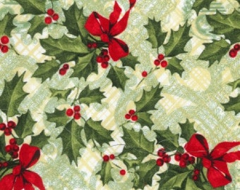 Christmas Holly Cotton Fabric, Quilting and Patchwork Fabric, 100% Cotton - Fat Quarter
