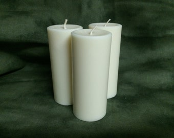 Set of Three Pure Soy Pillar Candles - Cream/White 2.5 x 4.5 inches Unscented