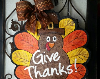 Thanksgiving Turkey Burlap Door Hanger Decoration and Wreath Replacement