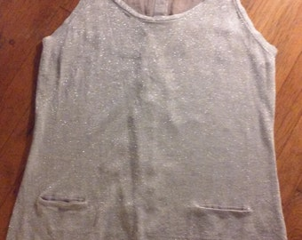 Silver sheer back buttons sleeveless tank top