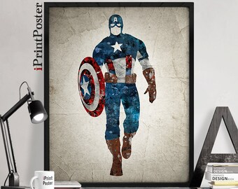 Captain America, Captain America print, Marvel avengers, Marvel grunge print, Marvel print, Wall Art,gift for him, home decor, iPrintPoster.