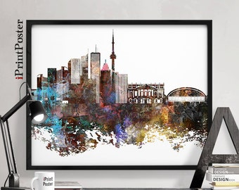 Toronto poster, Canada, Toronto, Toronto print, wall art, home decor, travel poster, city prints, abstract, skyline, distressed iPrintPoster