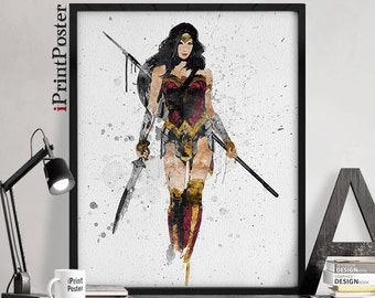Wonder woman print, Amazon warrior princess poster, Geekery, Justice league, DC comics, Gift for him, wall art, home decor, iPrintPoster.