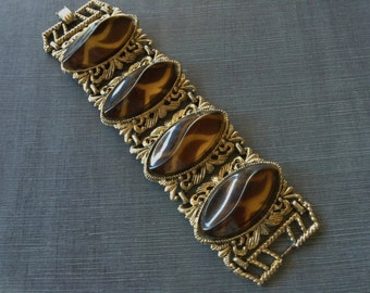 Mid Century Faux Tortoise Shell Cabochon Wide Chunky Lucite Bracelet