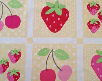 Lakehouse Sunrise Studio Strawberry & Cherry panel on butter background.