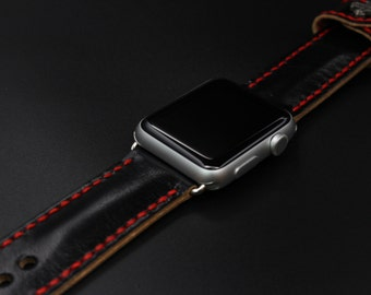 Mestiery 100% Handmade Leather Watch Bands For 42mm Apple Watch Black Color with Metal Decoration
