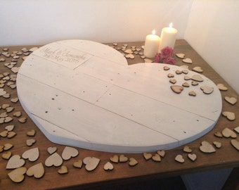 Rustic Wedding Wooden Heart Guestbook in Whitewash