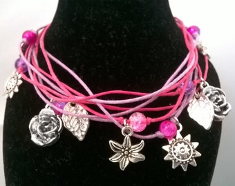 Hot Pink/Purple/Lilac Floral Theme Multi-Stranded Cord Bracelet Gift for Her