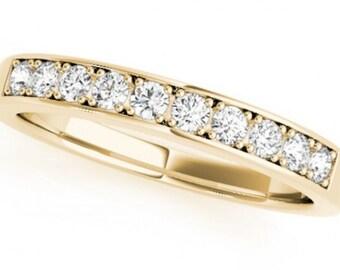 0.25ct Traditional Bridal 14k Yellow Gold Wedding Band with Diamonds