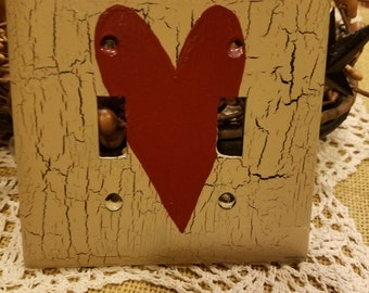 Lot of 5 primitive heart light switch rustic covers