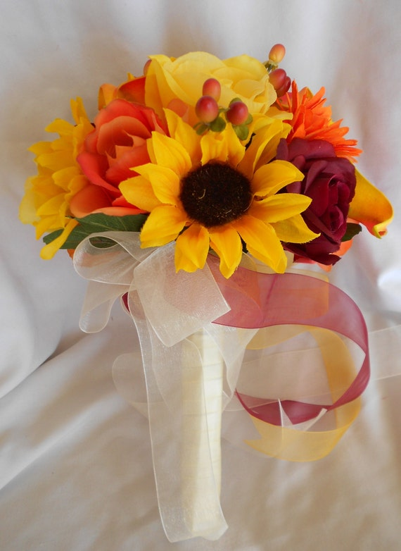 Sunflowers, gerbera, Calla lilies and roses  12 pc wedding set orange ,yellow and burgundy