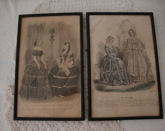 2 Lot Vintage FRENCH 1845 Black & White Tea Stained LA MODE Paris Fashion Shabby Picture Frames Victorian Ladies Belle Epoch Boudoir