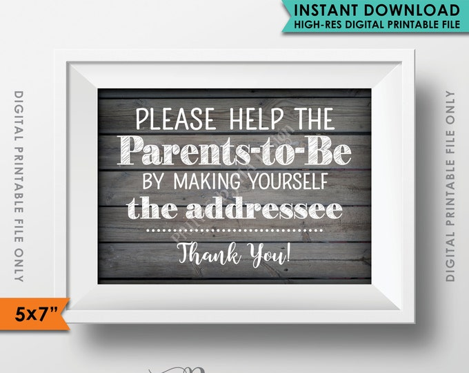 "Baby Shower Address Envelope Sign, Help the Parents-to-Be Address an envelope Shower Decor 5x7"" Rustic Wood Style Instant Download Printable"