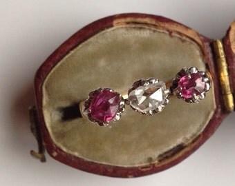 Antique Diamond and Ruby Edwardian Era Gold Ring