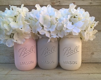Pink and Gray Nursery Decor,Pink and Gray Baby Shower Decor, Pink and Grey Mason Jars,Painted Mason Jars,Shabby Chic,Mason Jars with Flowers