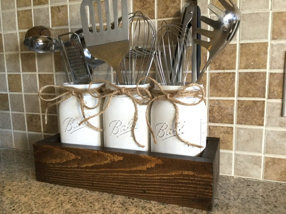 Rustic kitchen decor utensils holder mason jar utensils for Kitchen jar decoration