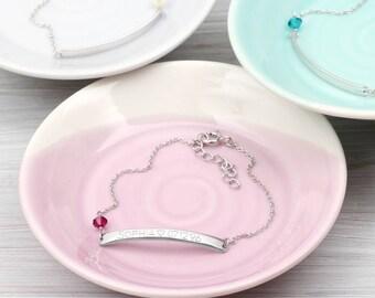 Personalised Sterling Silver Birthstone Bracelet