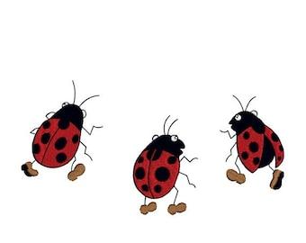 ON SALE Ladybugs Marching Set of 3 Beetle Machine Embroidery Design 4x4 Hoops Instant Download