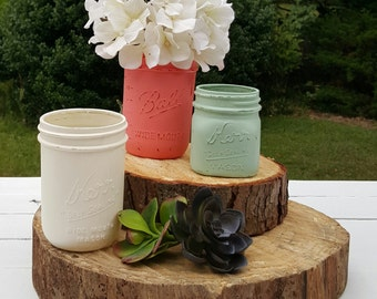 Painted Mason Jars, Hand Painted, Vintage Inspired, Country Decor, Wedding