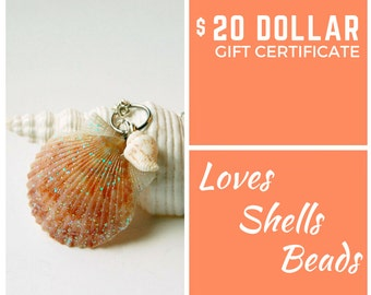Gift Certificate 20 Dollars Jewelry Gift Certificate Beach Girl Gifts Gift for Her Gift for Beach Lover Beach Gifts Beachy Gifts