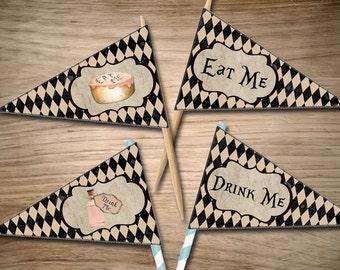 "Alice in Wonderland ""Eat Me/Drink Me"" Cupcake & Straw Flags Bundle ~ INSTANT DOWNLOAD"