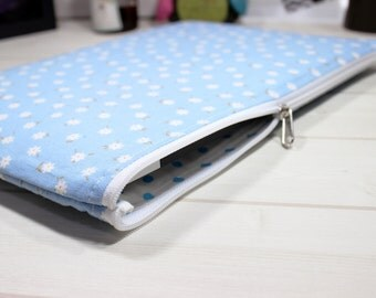 Zippered Kindle case, 8 inch tablet case, floral ebook case, zippered tablet case, iPad Mini sleeve, light blue case, E-reader sleeve, Mini4