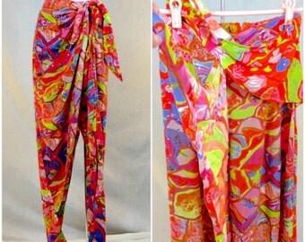 80s 90s Vintage S Neon Pants Wrap Trousers Slacks EMBELLISHED High Waist Rave Psychedelic Festival