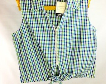 90s Vtg L Large Tank Top WITH TAGS Plaid Zipper bow tie