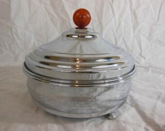 Art Deco Chrome Bakelite Three Section Covered Dish - 1930s - Farberware