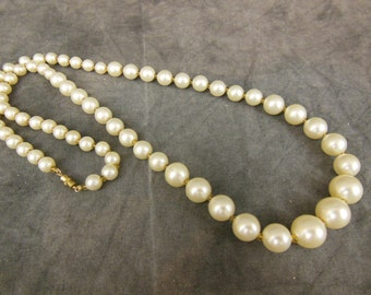 Vintage Simulated Pearl Necklace - Single Strand - 30""